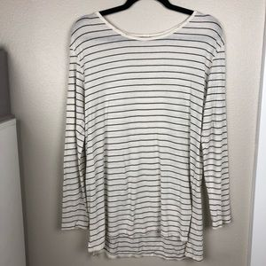 BP Long Sleeve White Tee with Black Stripes XS